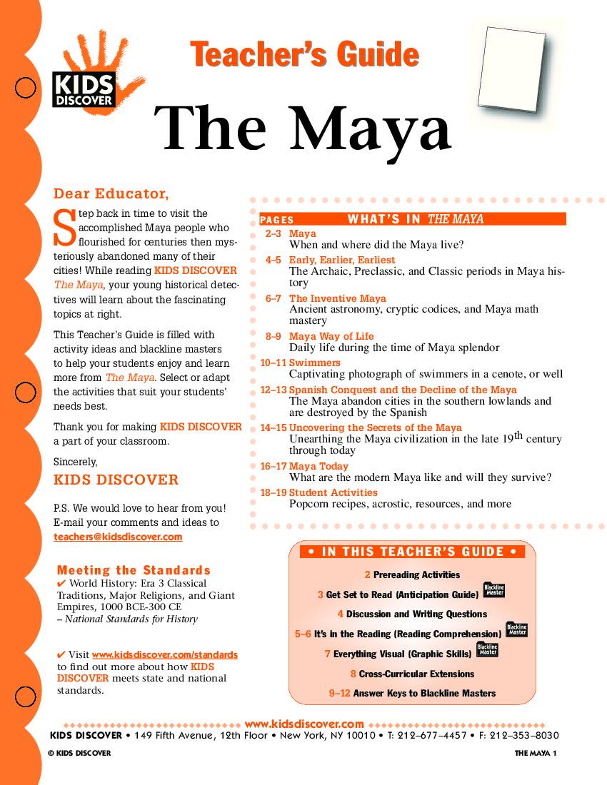 The Maya Kids Discover – Mayan Math Worksheet